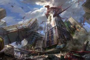 dragon jet fighter fantasy art destruction apocalyptic