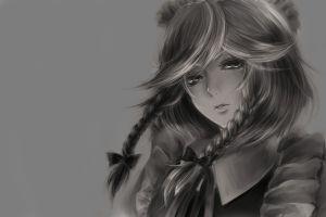 drawing gray background painting monochrome braids women anime izayoi sakuya touhou ribbon