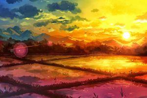 drawing rice paddy nature landscape fantasy art sunrise