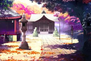 drawing road architecture landscape artwork anime