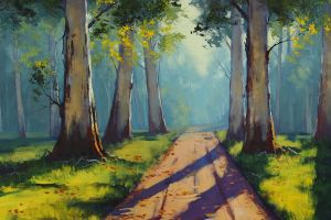 drawing road trees nature