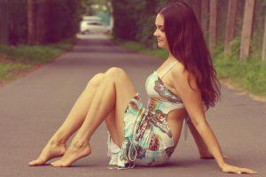 dress outdoors women road women outdoors model sitting long hair legs brunette side view profile smiling barefoot amateur