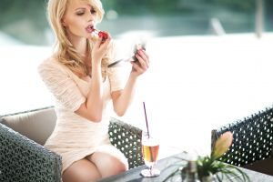 dress upskirt makeup long hair tight clothing women sitting nastya kunskaya chair drink model blonde