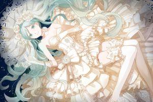 dress vocaloid white dress anime girls wedding dress