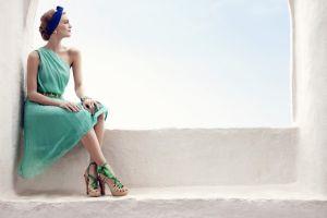 dress women high heels sitting model