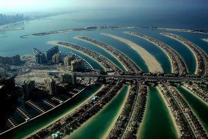 dubai cityscape beach island sand