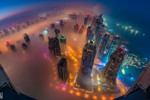 dubai skyscraper mist