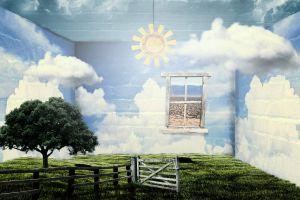 earth nature sky digital art room fantasy art trees window