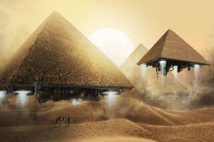 egypt desert abstract camels pyramid sand fantasy art