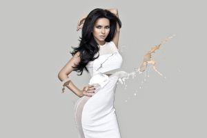 elena alexandra apostoleanu dark hair inna digital art women white dress photo manipulation