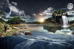 elephant digital art clouds sun men moon artwork waterfall ice water planet fantasy art
