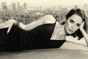 emily blunt brunette sepia women painted nails actress