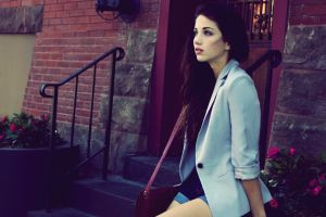 emily rudd stairs long hair urban women jacket short shorts looking away filter brunette model sitting looking into the distance white jacket women outdoors