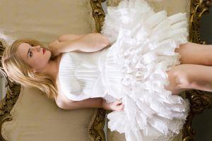 emma watson actress blonde women celebrity white dress