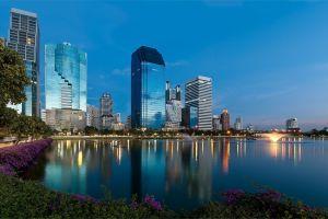 evening reflection cityscape thailand china water bangkok