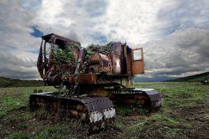excavators clouds machine wreck