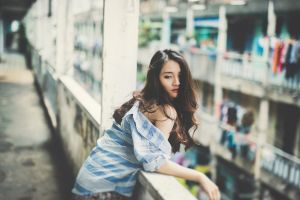 eyeliner women asian depth of field looking back striped clothing red lipstick brunette