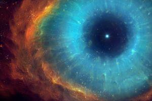 eyes cyan space galaxy space art nebula digital art red universe helix nebula stars