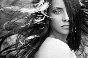 eyes face monochrome women brunette long hair