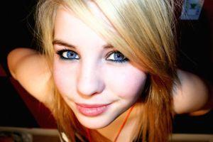 eyes smiling face blue eyes women blonde