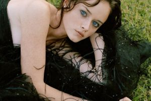 face bare shoulders actress black dress celebrity freckles alexis bledel brunette women outdoors women blue eyes