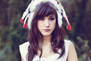 face brown eyes looking away headdress brunette filter hazel eyes white tops women feathers