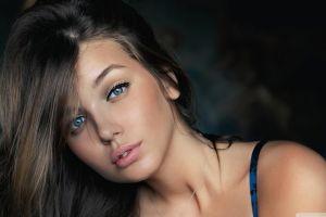 face brunette model daria konovalova blue eyes women