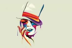 face hat digital art simple background painting women colorful drawing artwork