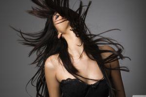 face long hair model women dark hair hair in face