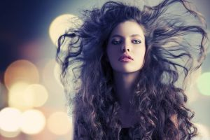 face model long hair women blue eyes