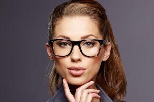 face portrait women simple background women with glasses closeup alyssa campanella glasses brunette