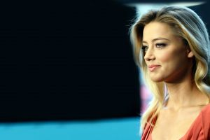 face simple background long hair smiling women amber heard blue eyes front angle view blonde
