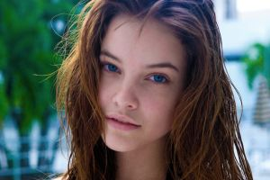 face wet hair looking at viewer model blue eyes brunette women barbara palvin