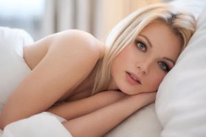 face white model blue eyes portrait blonde in bed eyes women lying down bed makeup looking at viewer hair