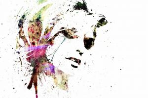 face women abstract painting simple background
