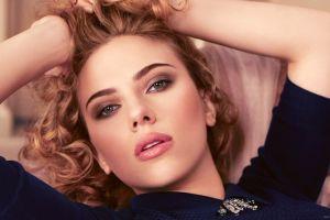 face women actress blonde scarlett johansson green eyes