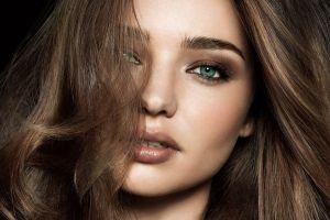 face women brunette blue eyes long hair makeup model miranda kerr