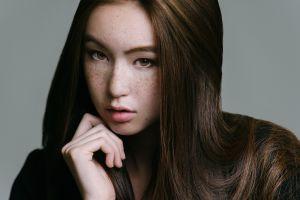 face women model hazel eyes brunette asian freckles