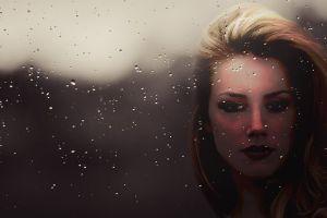 face women portrait amber heard celebrity artwork water on glass