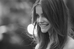 face women portrait barbara palvin monochrome smiling model