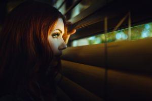 face women profile model redhead looking away window