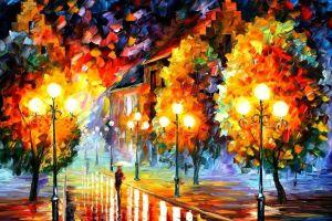 fall artwork leonid afremov rain street light painting path