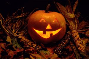 fall halloween jack o' lantern corn pumpkin leaves