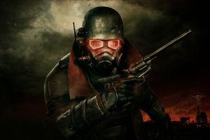 fallout: new vegas video games gun helmet apocalyptic digital art