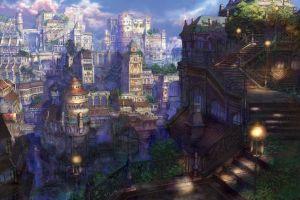 fantasy art anime cityscape architecture artwork