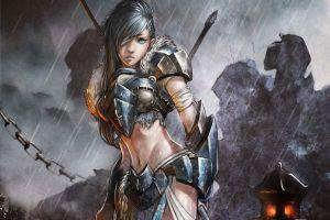 fantasy art anime girls armored anime fantasy girl rain