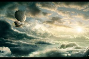 fantasy art artwork airships sky clouds