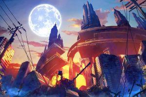 fantasy art artwork city destruction anime moon