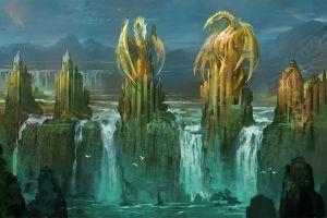 fantasy art artwork waterfall