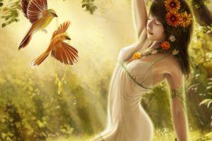 fantasy art birds closed eyes flower in hair fantasy girl women